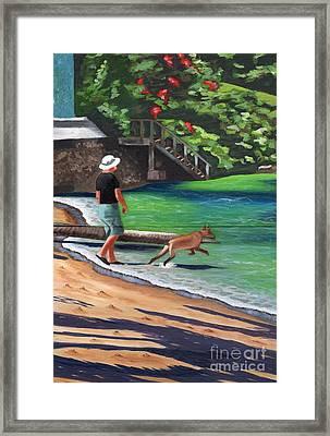 Framed Print featuring the painting A Man And His Dog by Laura Forde