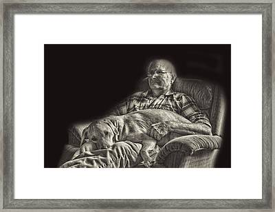 A Man And His Dog Framed Print by Linda Phelps