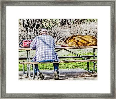A Man And His Dog Framed Print by Photographic Art by Russel Ray Photos