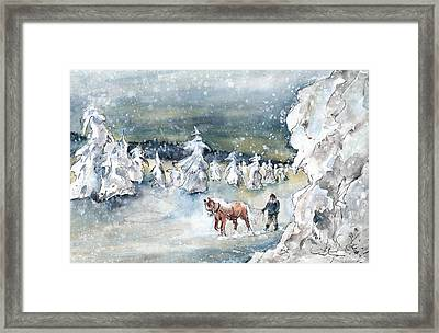 A Man And His Horse In Germany Framed Print by Miki De Goodaboom