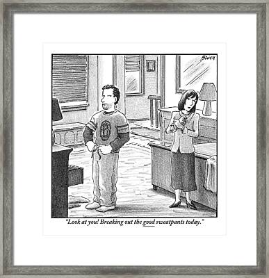 A Man And Woman Are Getting Dressed In A Room Framed Print