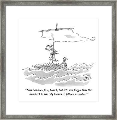 A Man And Woman Are Seen On A Raft With A Sail Framed Print