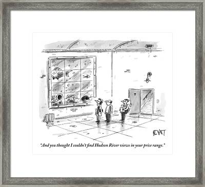 A Man And Woman Are With A Real Estate Agent Framed Print