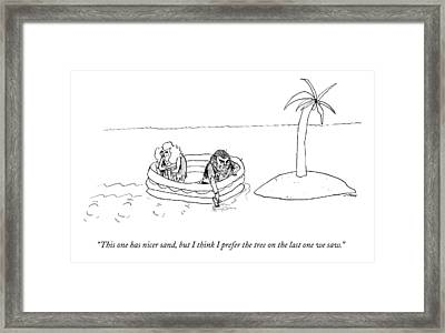 A Man And Woman Paddle A Raft Toward A Small Framed Print