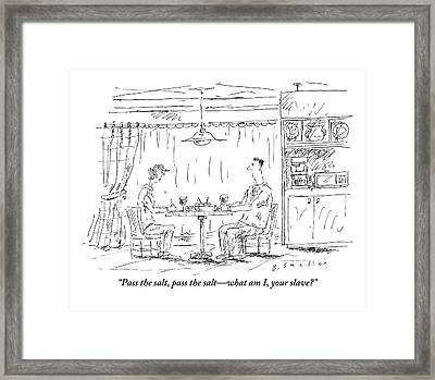 A Man And Woman Sit At A Kitchen Table Together Framed Print