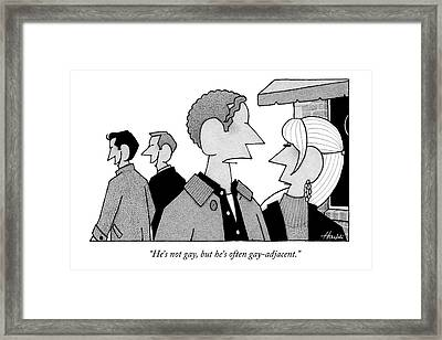 A Man And Woman Speak While Two Men Talk Framed Print