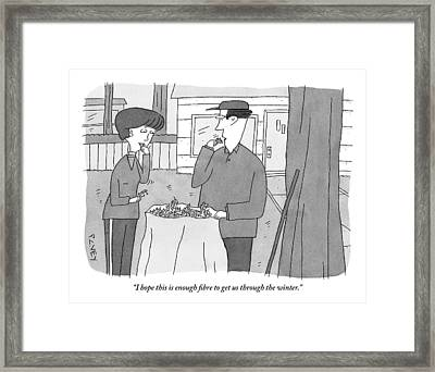 A Man And Woman Stand Outside With A Bag Framed Print
