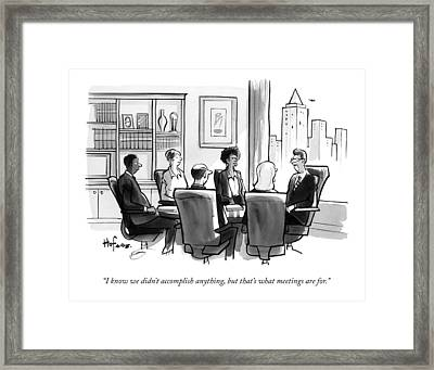 A Man Announces At A Business Conference Meeting Framed Print