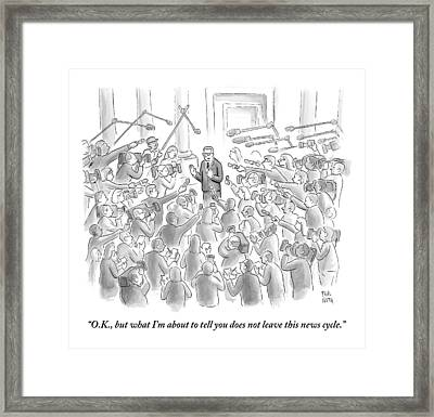 A Man Answers Questions At A Press Conference Framed Print by Paul Noth