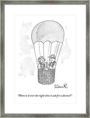 A Man Asks A Woman In A Hot-air Balloon Framed Print