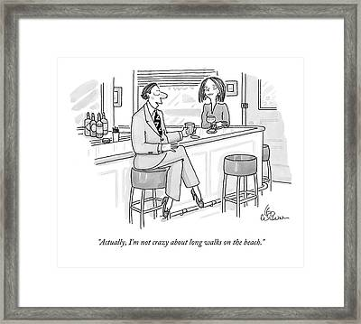 A Man At A Bar Wears Ladies' Shoes Framed Print by Leo Cullum