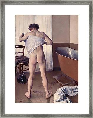 A Man At His Bath Framed Print by Mountain Dreams
