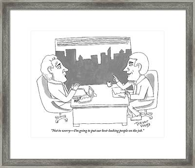 A Man Behind A Desk Speaks To Another Man In An Framed Print