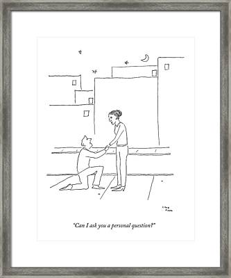 A Man Bends Down On One Knee To Propose Framed Print by Liana Finck
