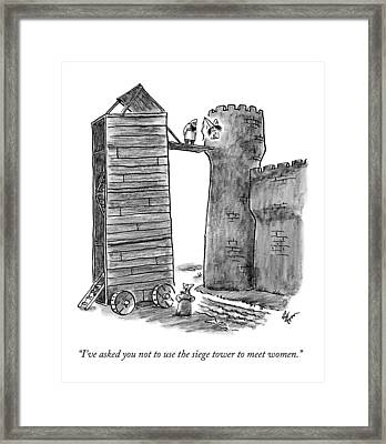 A Man Calls Up To Another Man Standing Framed Print by Frank Cotham