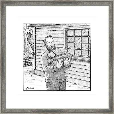 A Man Carries Firewood Back To His Cabin Framed Print