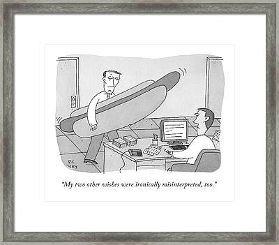 A Man Carrying A Giant Hot Dog Speaks To Another Framed Print