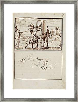 A Man Climbing To Sit On A Camel Framed Print by British Library