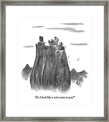 A Man Climbs To The Top Of A Mountain Only Framed Print