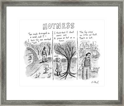 A Man Comes To A Diverging Path. A Woman Framed Print