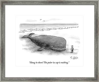 A Man Comforts A Beached Whale That Climate Framed Print by Sam Gross