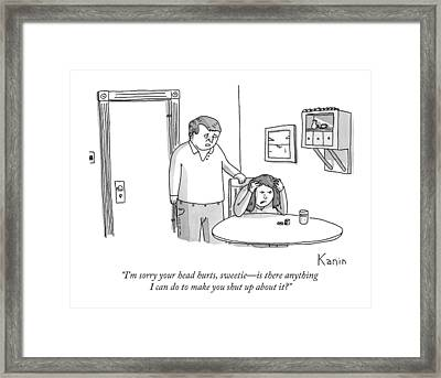 A Man Comforts His Wife Framed Print by Zachary Kanin