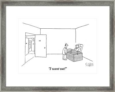 A Man Confronts His Boss In The Latter's Office Framed Print by Sam Gross