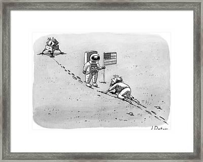 A Man Crawls Uphill Towards An Astronaut With An Framed Print by Joe Dator
