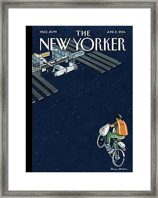 A Man Delivers Food To A Space Station Framed Print