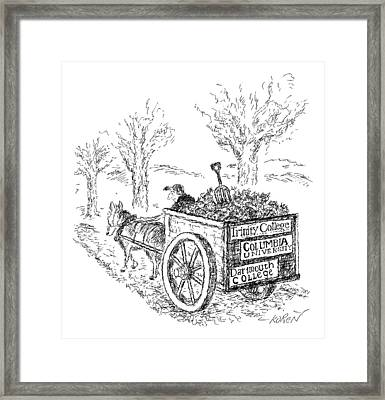 A Man Drives A Horse-drawn Cart With Bumper Framed Print