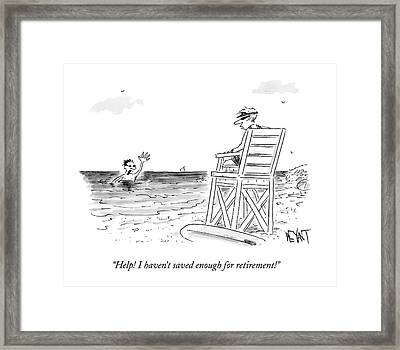 A Man Drowning In The Ocean Waves Towards Framed Print