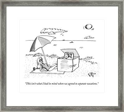 A Man Emerges From A Box On The Beach And Speaks Framed Print