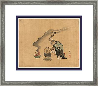 A Man Engaged In Metalwork Appears To Be Melting Statues Framed Print by Japanese School