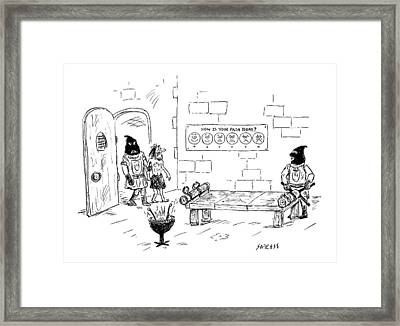 A Man Enters A Medieval Torture Chamber To See Framed Print by David Sipress