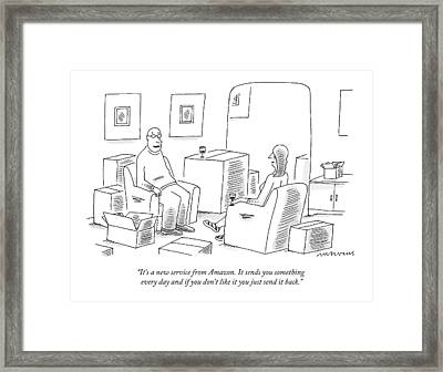 A Man Explains To His Wife In Their Living Room Framed Print by Mick Stevens