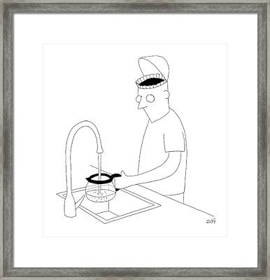 A Man Filling Up His Coffee Pot Framed Print by Seth Fleishman