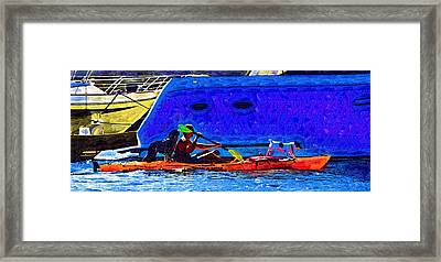 A Man His Kayak And His Dogs Framed Print