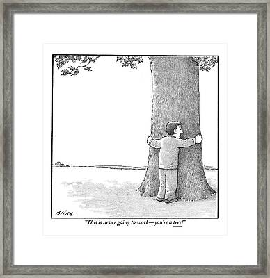 A Man Hugging A Tree Speaks To It Forlornly Framed Print
