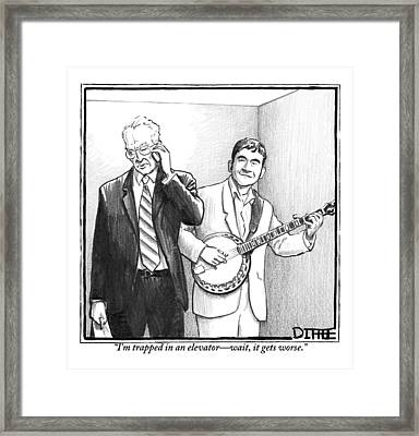 A Man In A Business Suit Is Talking On His Cell Framed Print