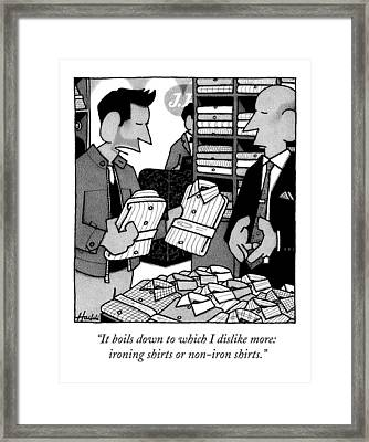 A Man In A Department Store Decides Between Two Framed Print