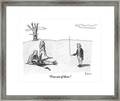 A Man In A Shooting Match Gets Shot But Asks Framed Print