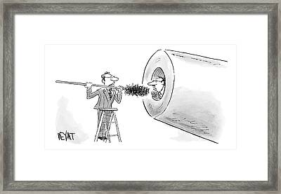 A Man In A Suit Prepares To Push Another Man Framed Print