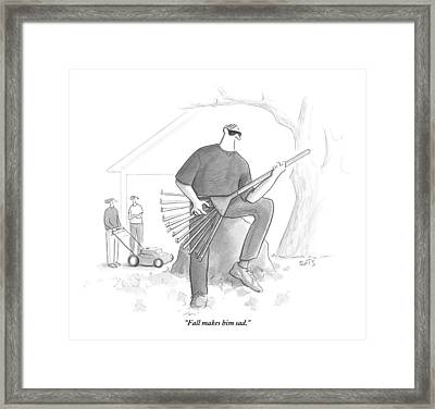 A Man In A Yard Holds A Rake As Though Framed Print