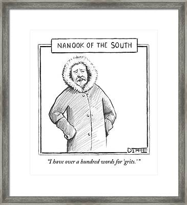 A Man In An Eskimo Coat Framed Print by Matthew Diffee