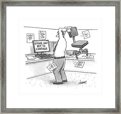 A Man In An Office Cubicle Holds A Chair Framed Print by Tom Cheney