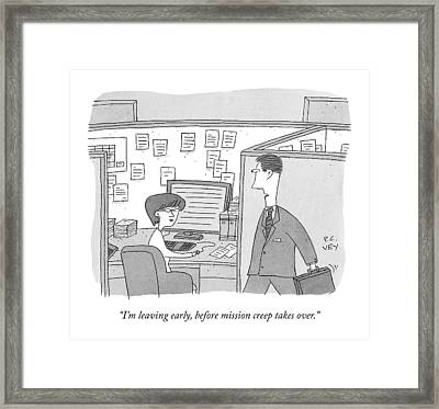 A Man In An Office Walks Past And Speaks Framed Print
