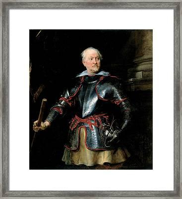 A Man In Armour, C.1621-27 Oil On Canvas Framed Print