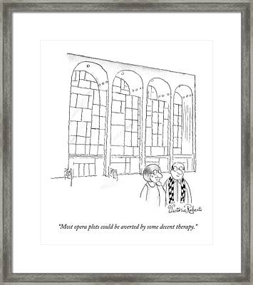 A Man In Glasses Talks To A Woman In Glasses Framed Print by Victoria Roberts