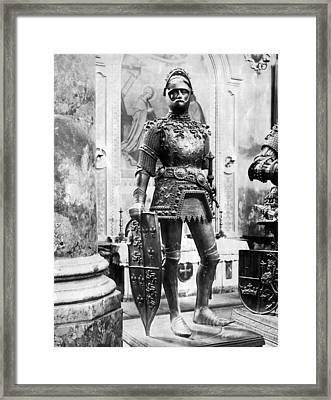 A Man In Knight's Armor Framed Print by Underwood Archives