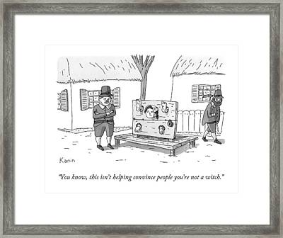A Man In Salem Massachusetts Says To A Woman Framed Print by Zachary Kanin